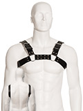 Black Leather Slim Bulldog Male Chest Harness