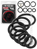 Push Monster - Black Rubber Cockring 7 Ring Set